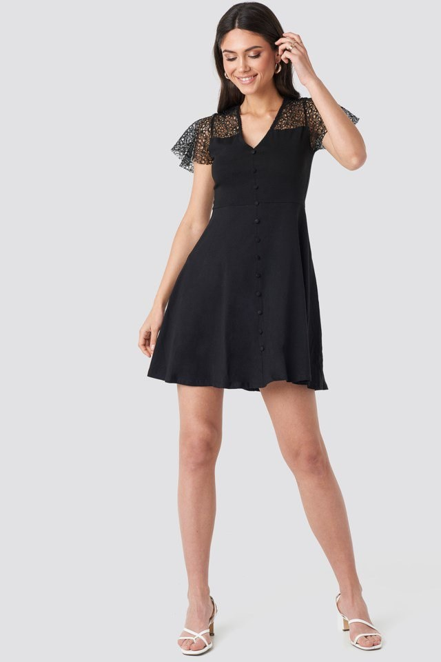 Lace Shoulder Mini Dress Black Outfit