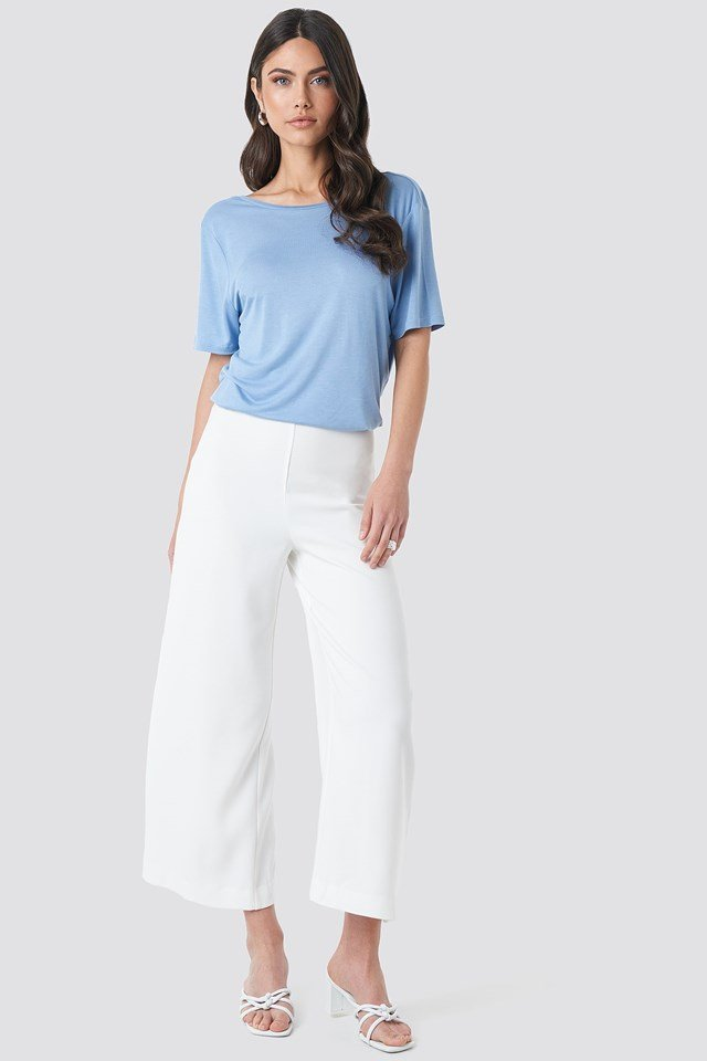 Viscose Deep Back Tee Blue Outfit