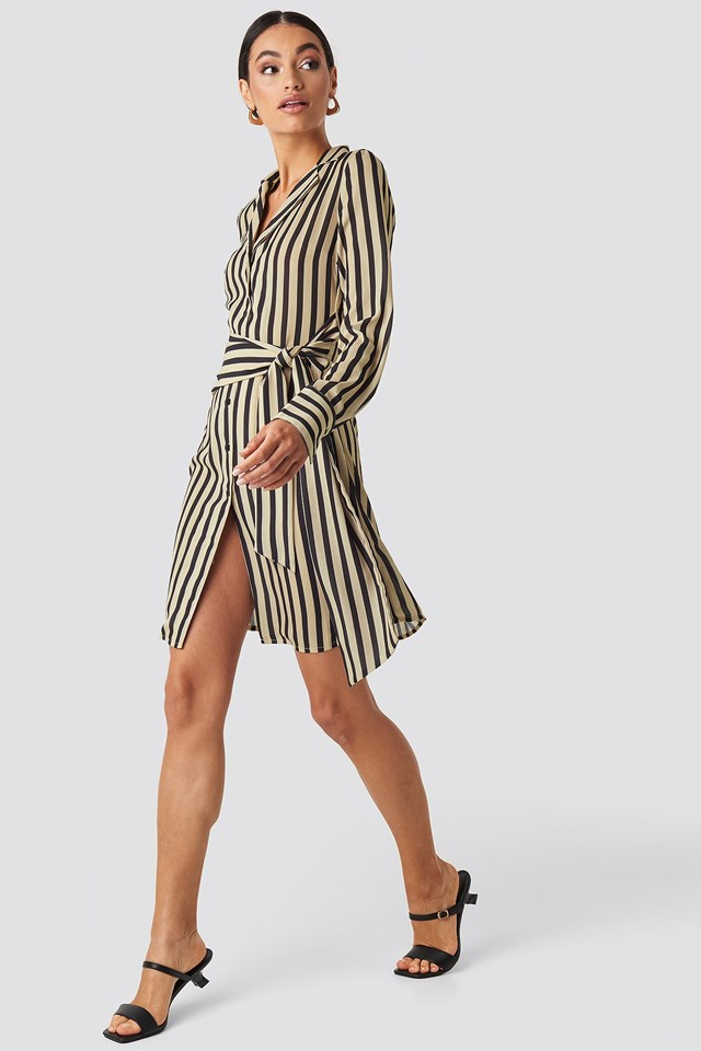 Tied Waist Striped Dress Beige Outfit
