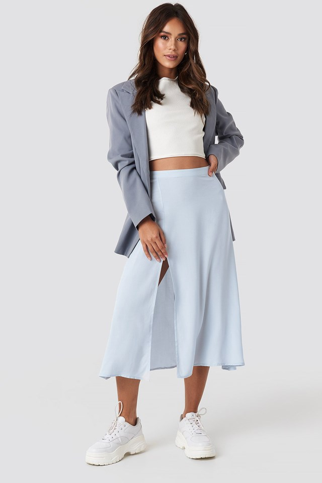 Side Split Midi Skirt Blue Outfit