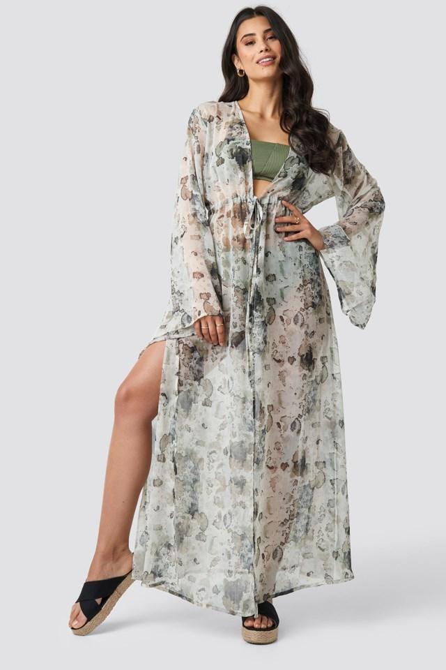 Tied Waist Maxi Beach Caftan Grey Outfit