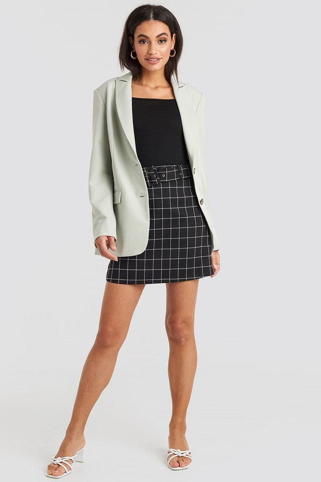 Big Check Belted Mini Skirt Black Outfit