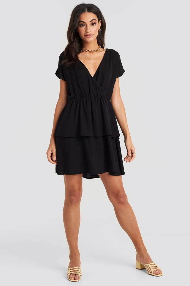 Waist Detail Mini Dress Black Outfit