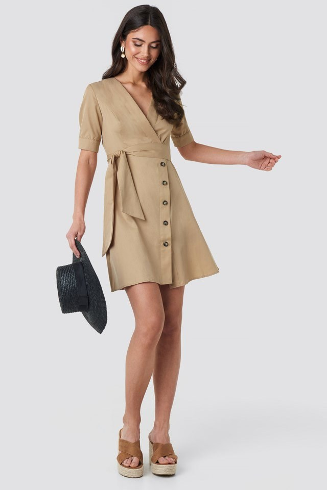 Asymmetric Buttoned Mini Dress Beige Outfit