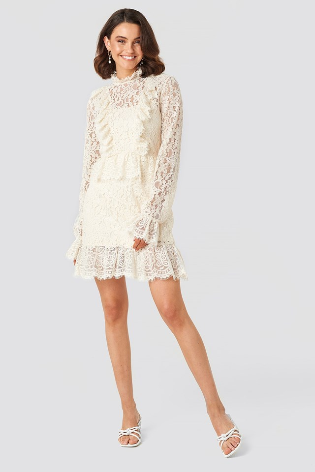 Frill Detailed Mini Lace Dress White Outfit