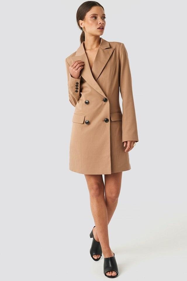 Wide Lapel Blazer Dress Brown Outfit