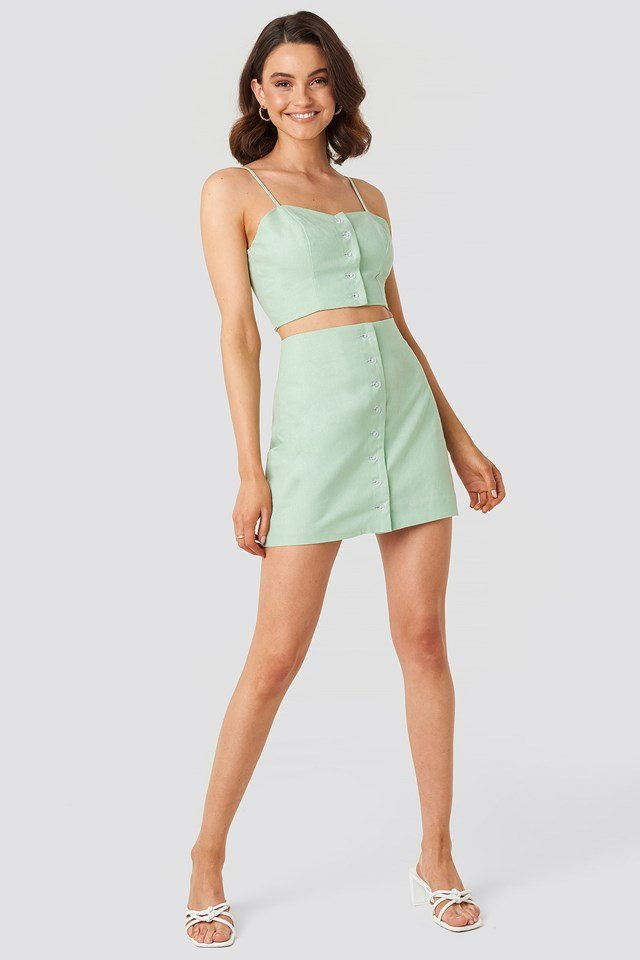 Front Button Linen Mix Bustier Green Outfit