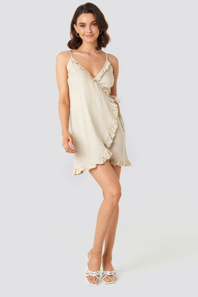 Overlapped Linen Mix Frill Dress Beige Outfit