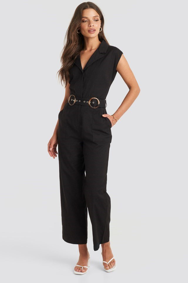 Belted Front Pocket Jumpsuit Black Outfit