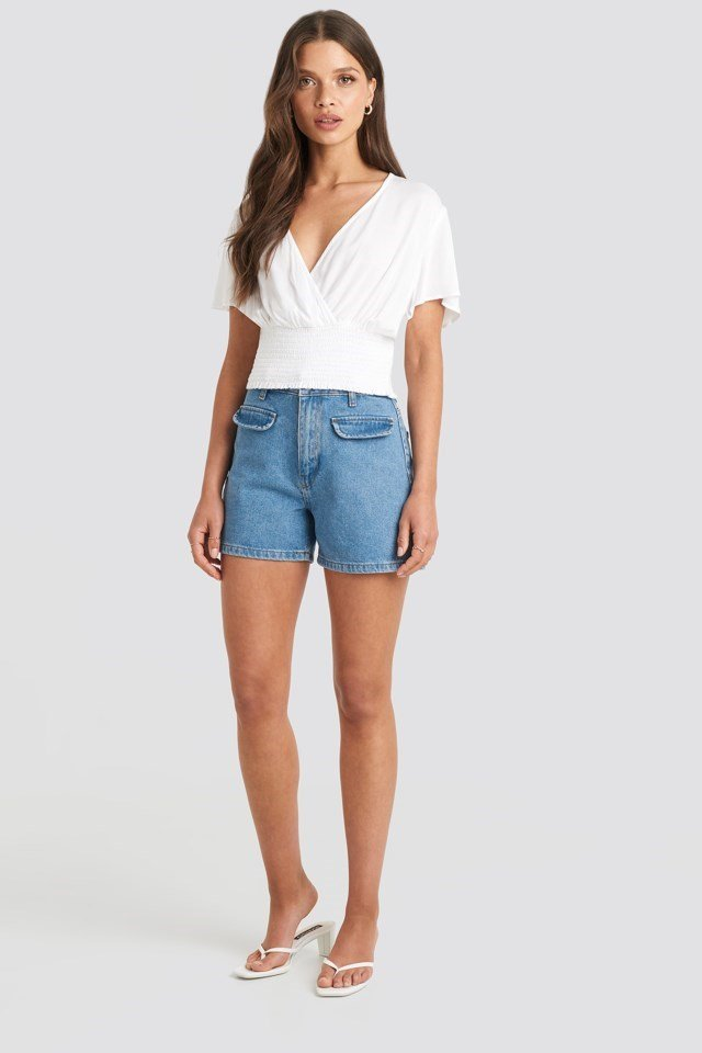 Overlapped Smocked Top White Outfit