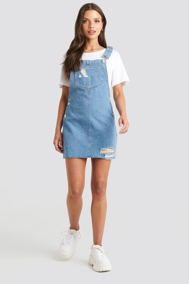 Raw Hem Mini Dungaree Blue Outfit