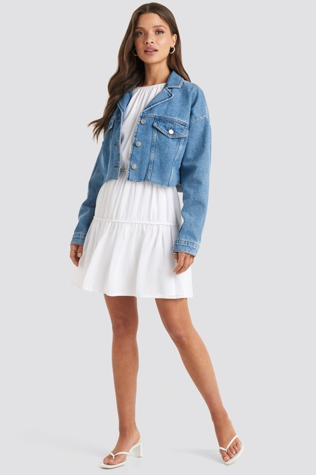 Cropped Raw Edge Denim Jacket Blue Outfit