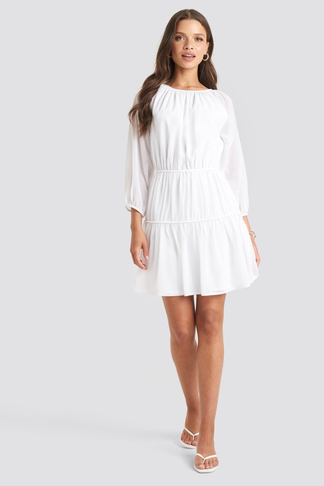 Draped A-lined Chiffon Dress White Outfit