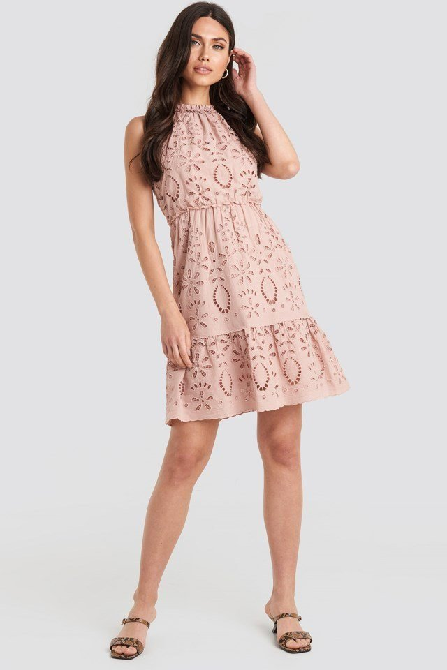 High Neck Anglaise Dress Pink Outfit