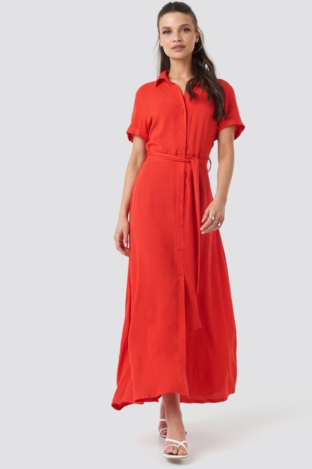 Short Sleeve Maxi Dress Red Outfit