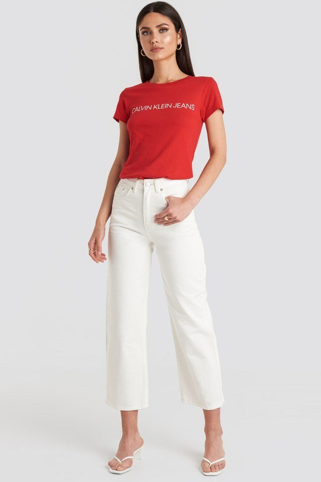 Institutional Logo Slim Fit Tee Red Outfit