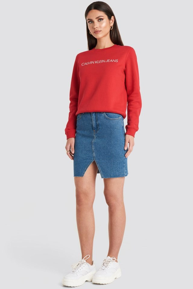 Ïnstitutional Regular Crew Neck Sweatshirt Red Outfit