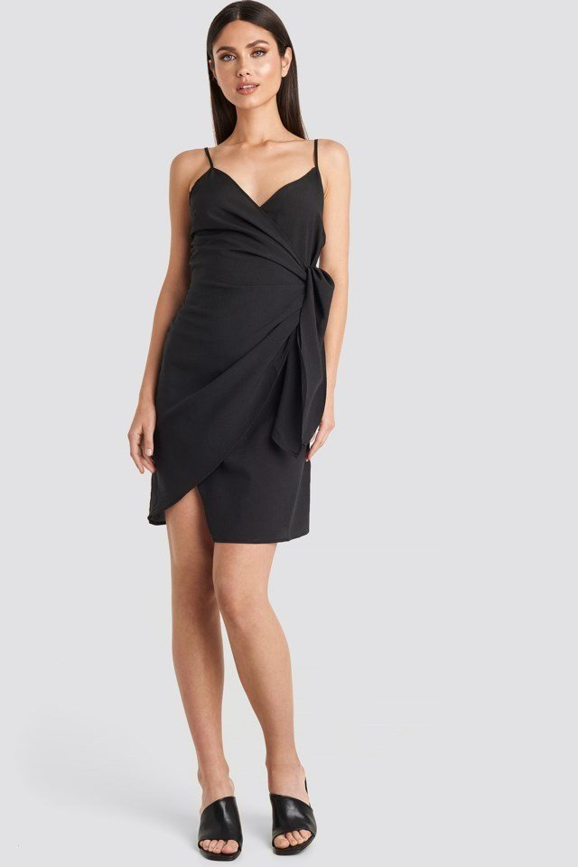Strap Overlap Mini Dress Black Outfit