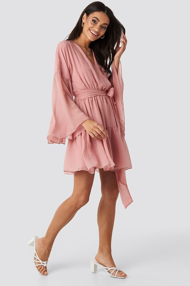 Wide Sleeve Mini Dress Pink Outfit