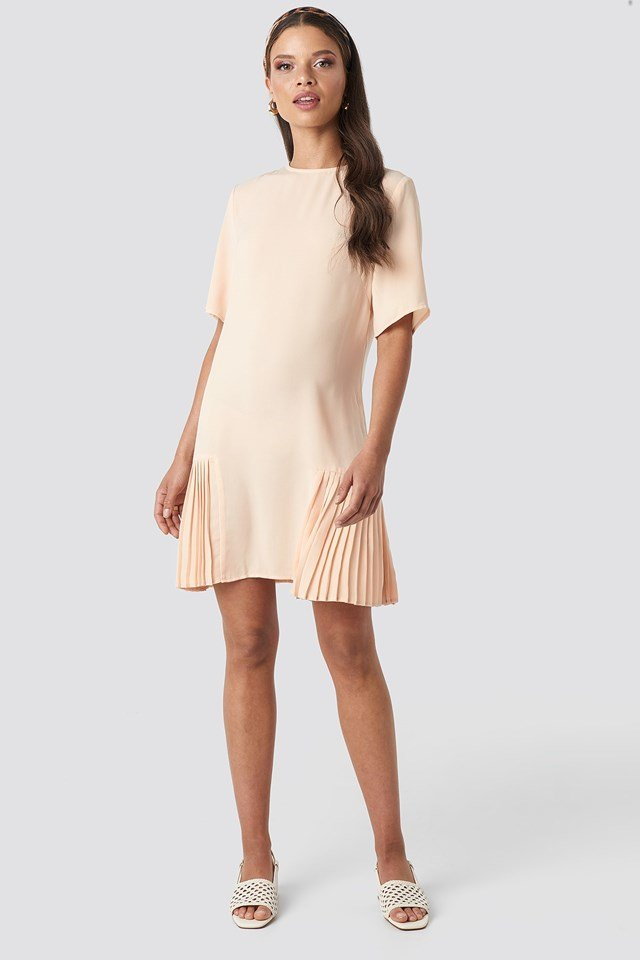 Pleated Detail Mini Dress Beige