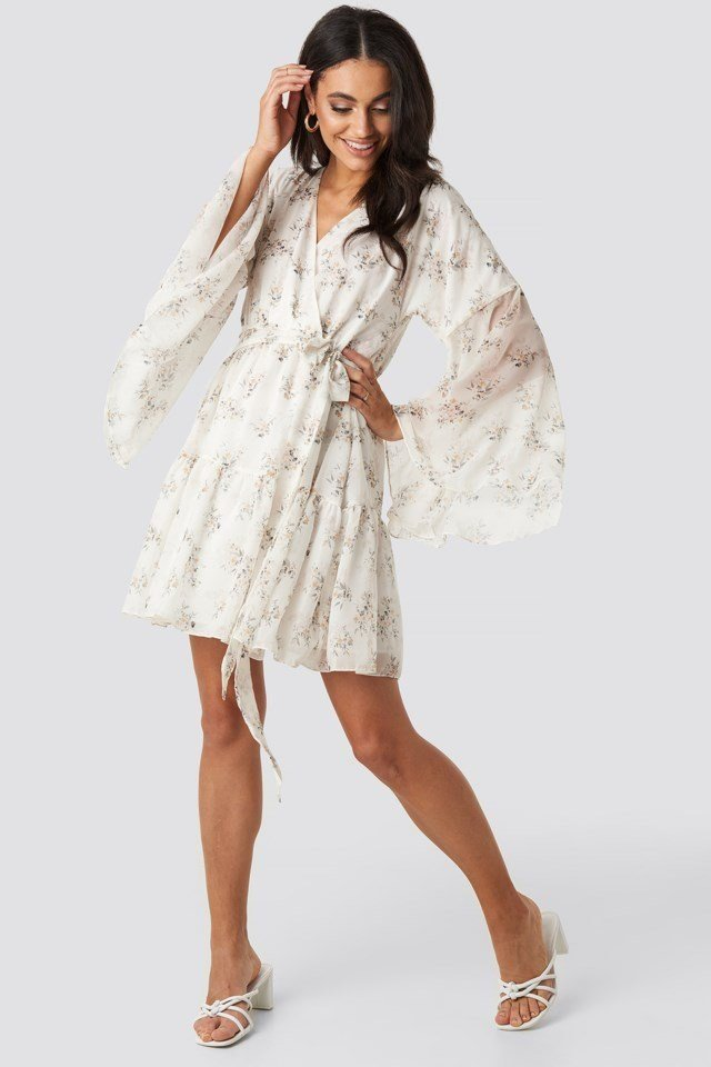 Wide Sleeve Mini Dress White Outfit
