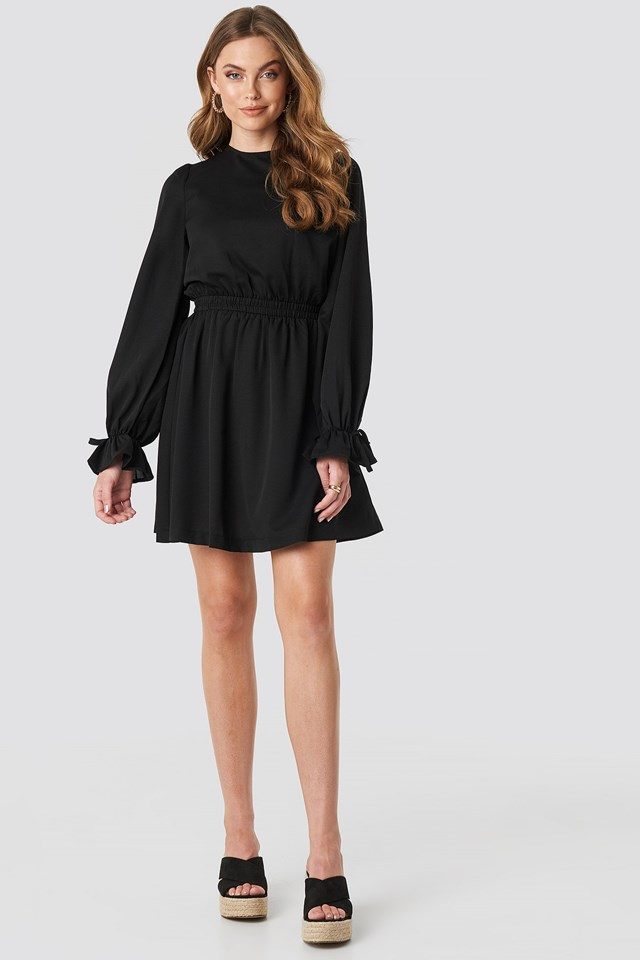 Open Back Flounce Detail Dress Black