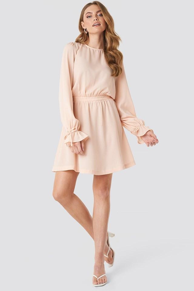 Open Back Flounce Detail Dress Pink