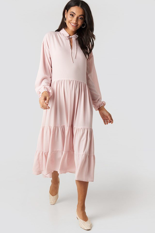 Tiered Detail Balloon Sleeve Dress Pink