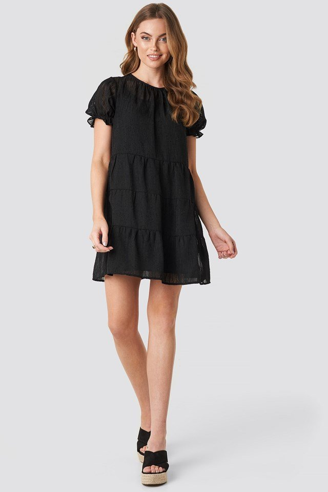 Round Neck Dobby Mini Dress Black