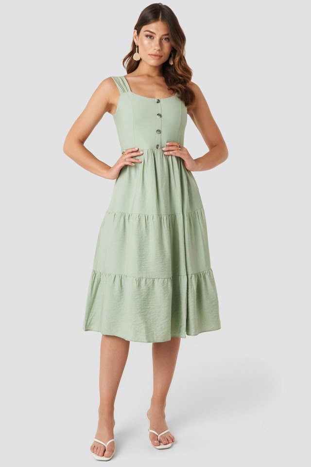 Yol Buttoned Midi Dress Green Outfit