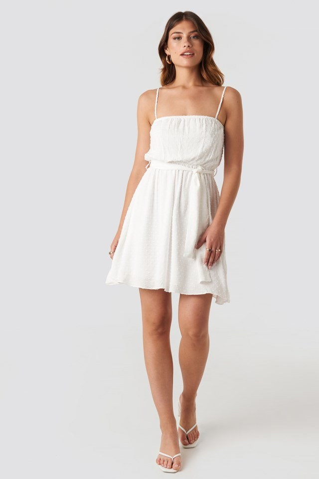 Mini Strap Mini Dress White Outfit