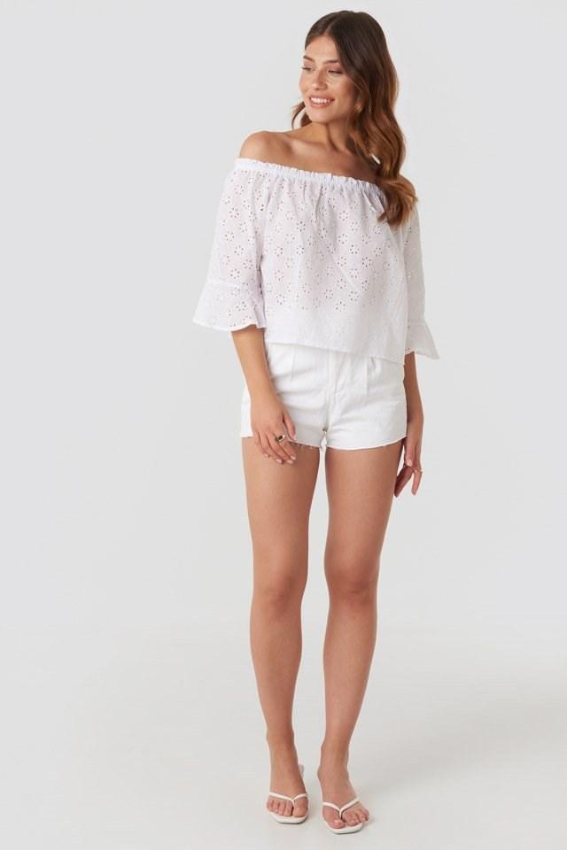 Carmen Neckline Blouse White Outfit