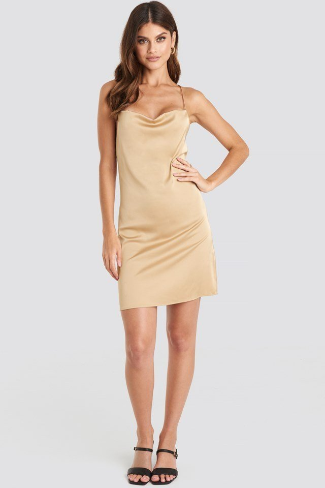 Satin Waterfall Mini Dress Beige Outfit