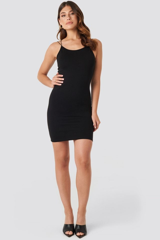 Cross Back Spaghetti Strap Dress Black Outfit