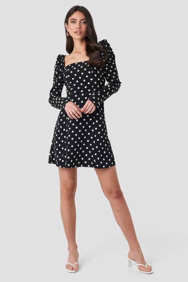 Gathered Puff Sleeve Mini Dress Black Outfit