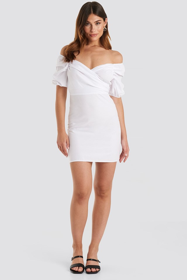 Off Shoulder Puff Sleeve Mini Dress White