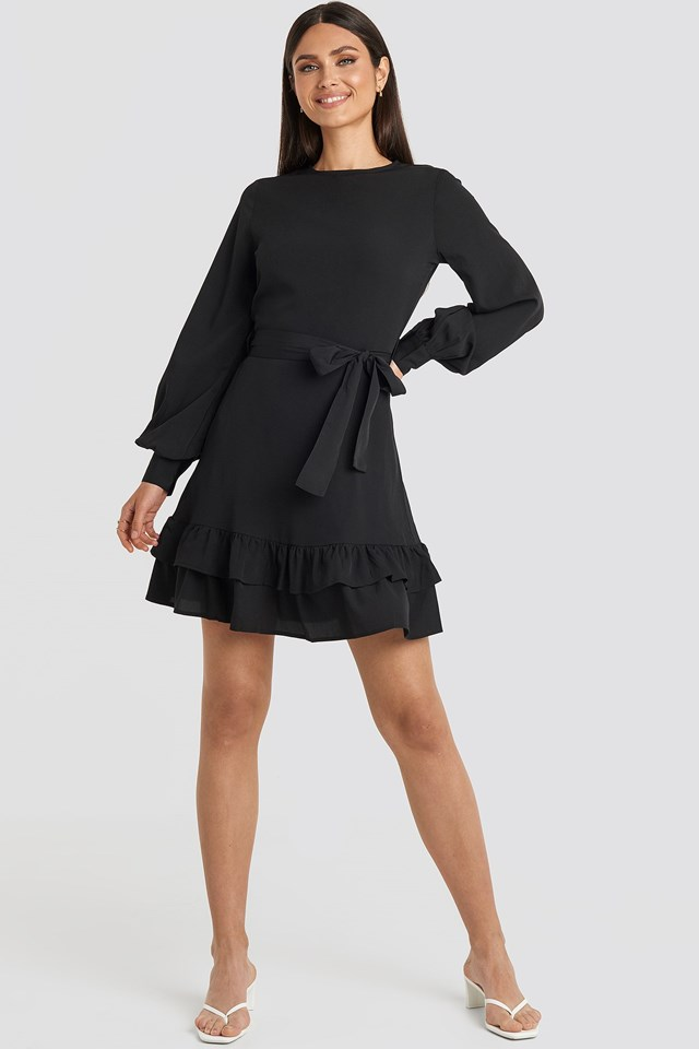 Balloon Sleeve Mini Dress Black Outfit