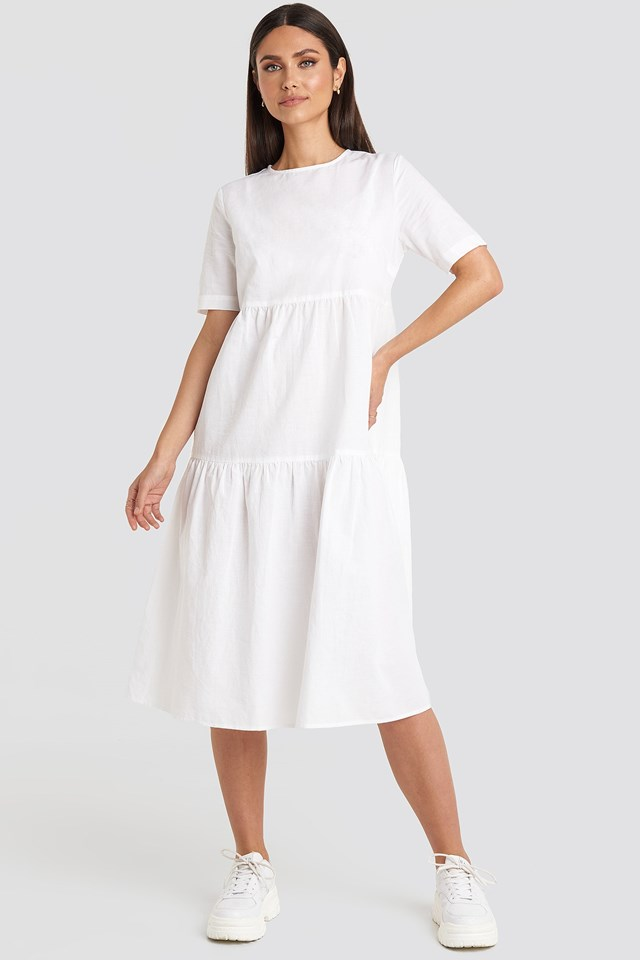 Flounce Midi Dress White Outfit