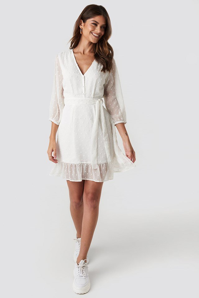 Balloon Sleeve Tied Waist Dress White Outfit