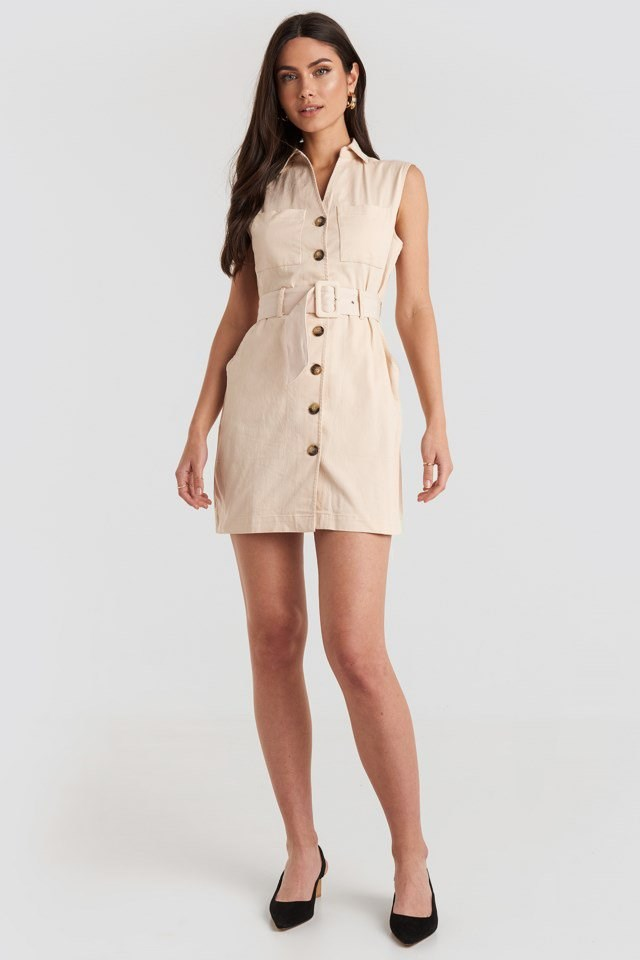 Belted Cargo Sleeveless Dress Beige Outfit