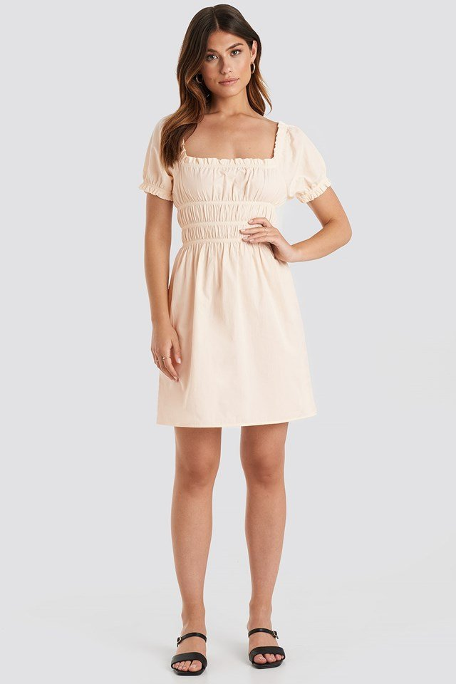 Puff Sleeve Shirring Mini Dress Beige Outfit