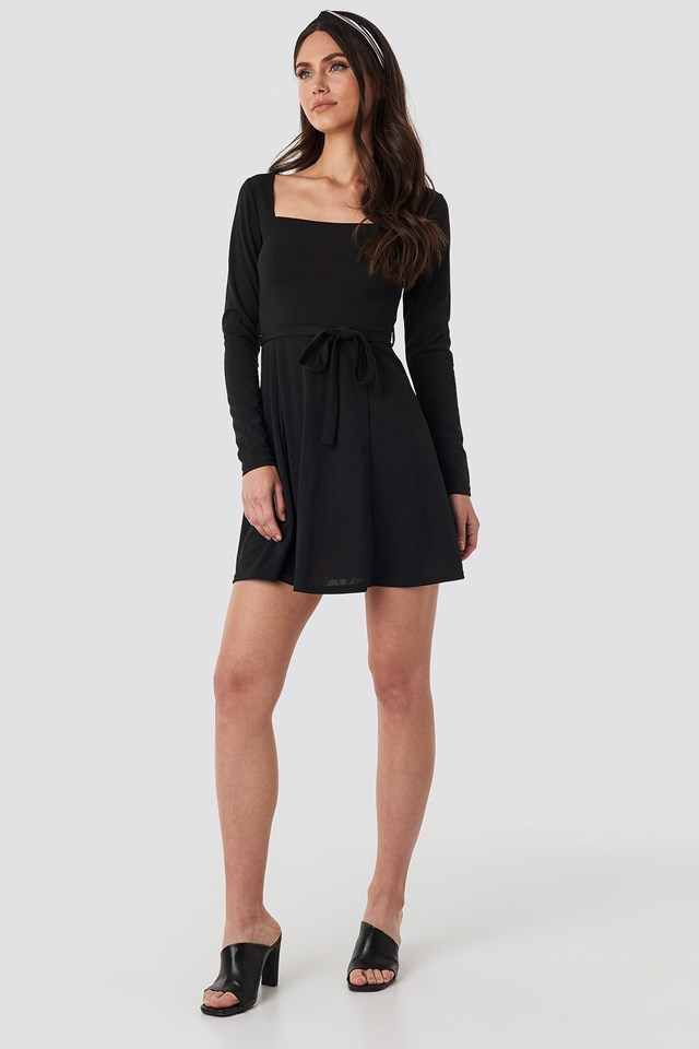 Tied Waist Square Neck Mini Dress Black Outfit
