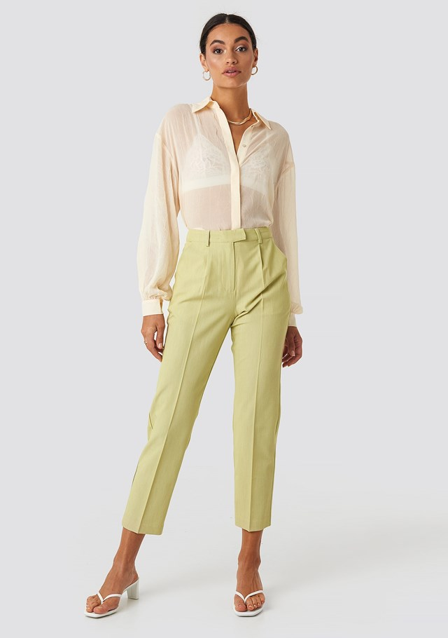 Straight Fit Suit Pants Green