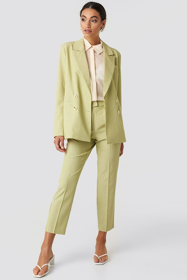 Straight Fit Double Breasted Blazer Green