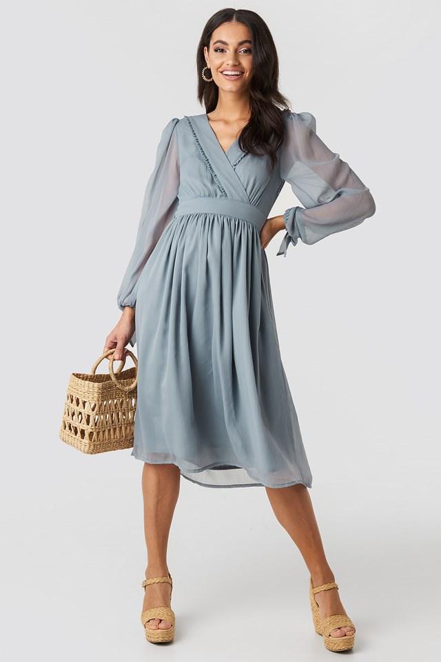 Tie Sleeve Waistband Midi Dress Blue Outfit.