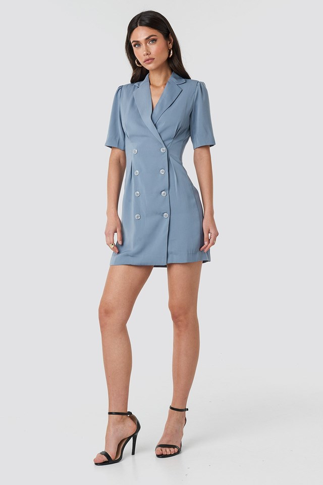Short Sleeve Blazer Dress Blue Outfit.