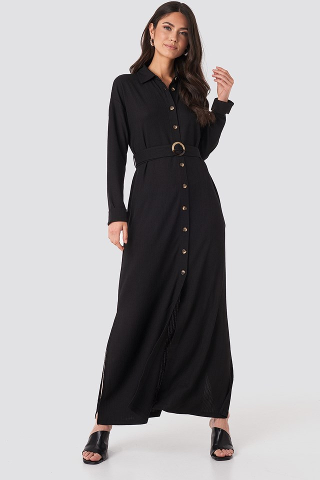 Belted Shirt Maxi Dress Black Outfit