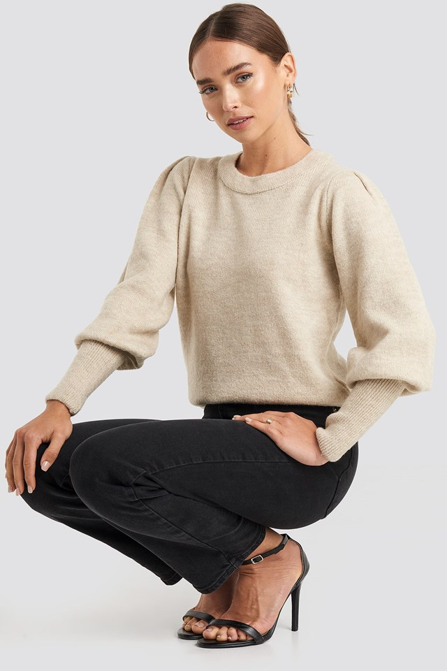 Puff Sleeve Wide Rib Knitted Sweater Beige Outfit