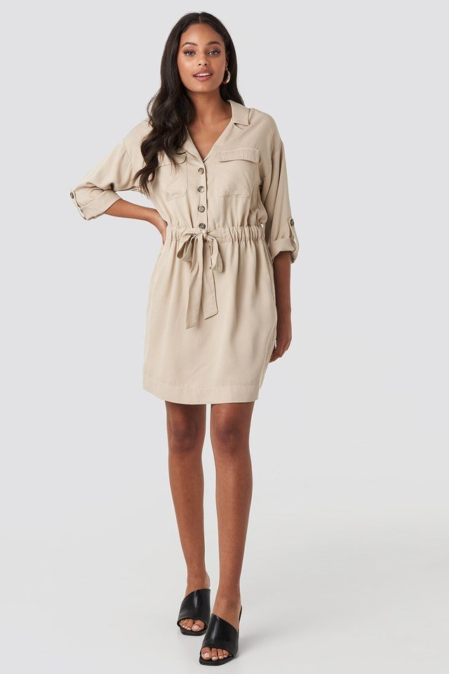Belted Cargo Pockets Mini Dress Beige Outfit
