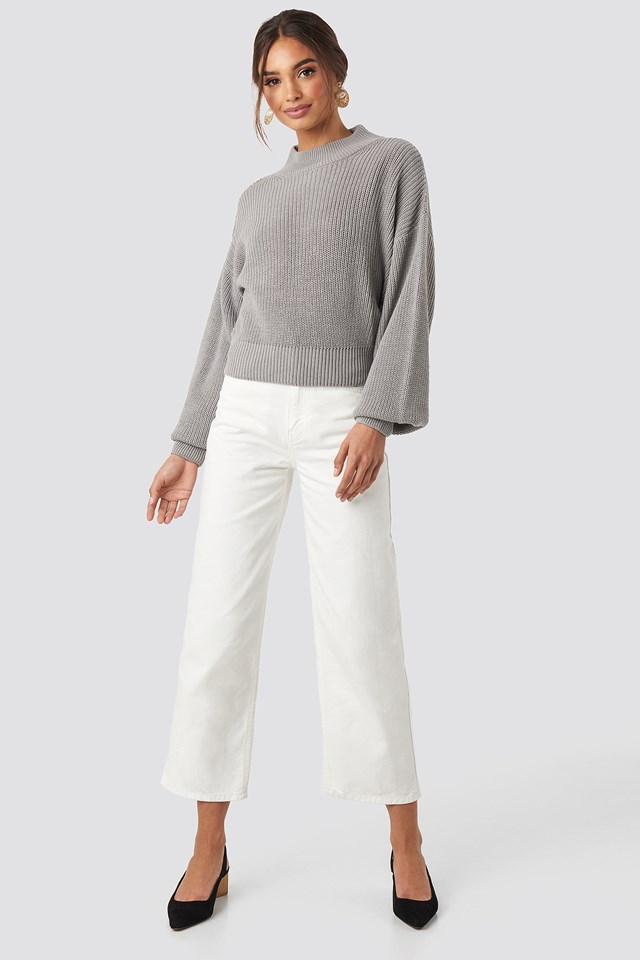 Volume Sleeve High Neck Knitted Sweater Grey